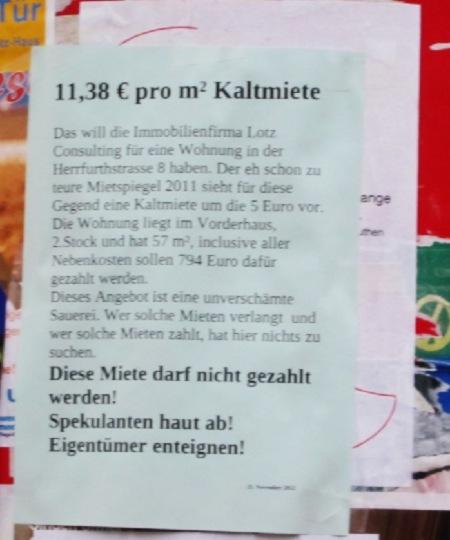 11 Euro Miete verlangt Herrfurthstrasse Schillerkiez