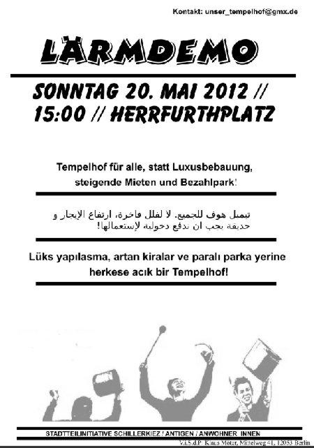 Lärmdemo gegen Bebauung Tempelhofer Feldam 20.5.2012