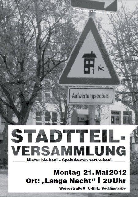 Stadteilversammlung Schillerkiez Mai 2012