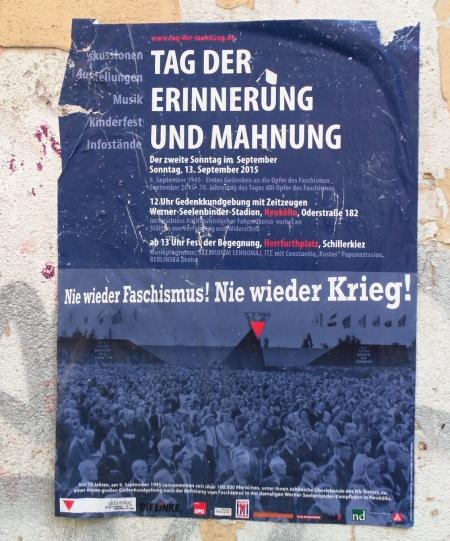 Plakat Tag der Erinnerung und Mahnung 2015