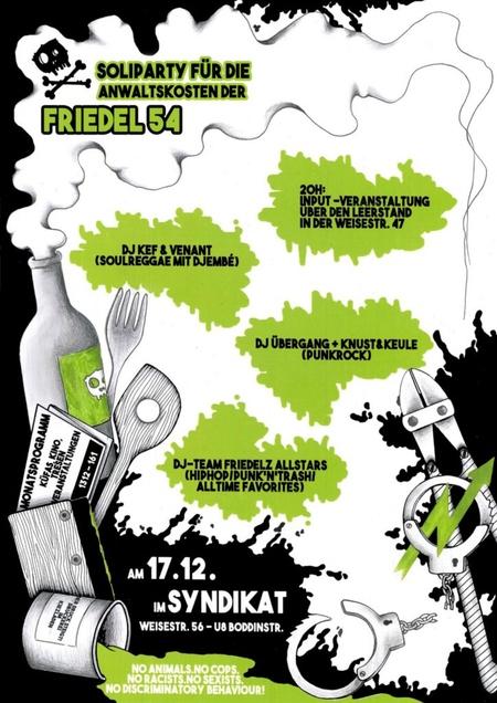 Plakat Soli Friedel54 im Syndikat