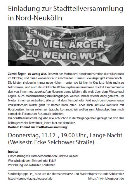 Stadtteilversammlung Nord-Neukölln 11.12.2014