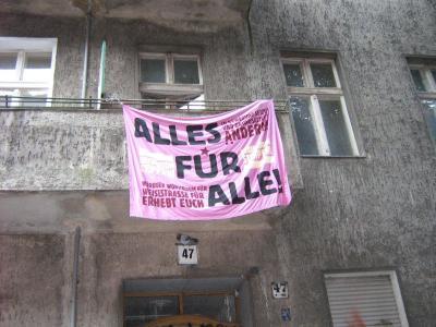 Weisestrasse 47 Transparent gegen Leerstand