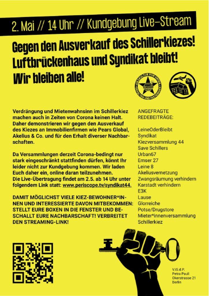 Gegen den Ausverkauf des Schillerkiezes!
