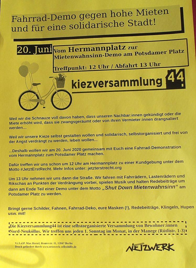20. Juni: Fahrraddemo gegen Verdrängung