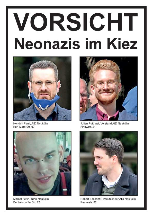 Plakat Vorsicht Neonazis im Kiez