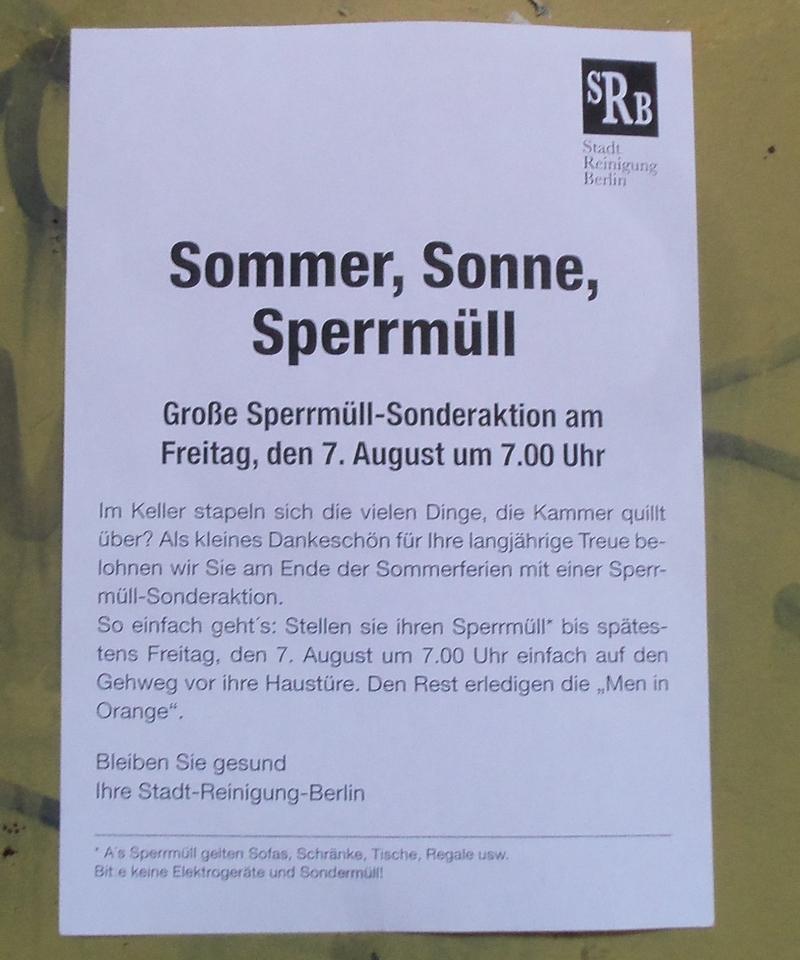 """Flyer Sommer,Sonne,Sperrmüll"""" /></p> <p>Im Kiez kursiert auch ein Aufruf zum Globalen Tag des Bieres am 7.8.2020, siehe Foto.</p> <p><img src="""