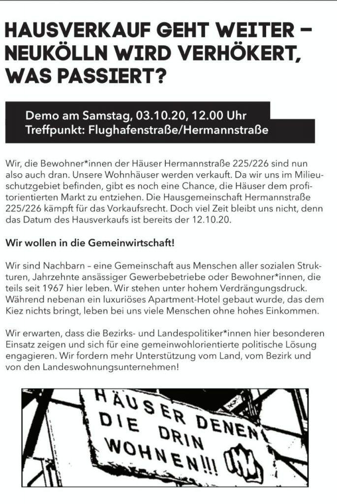 Flyer für Vorkaufsrecht Hermannstr. 225/226