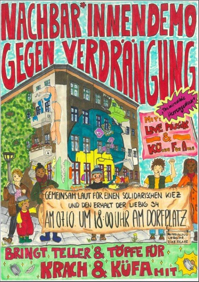Kiezdemo für Liebig34 am 7.10.2020