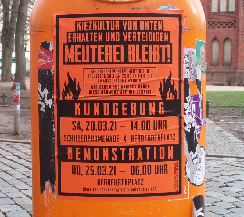 Plakat Meuterei Bleibt! Aufruf zur Kundgebung und Demo