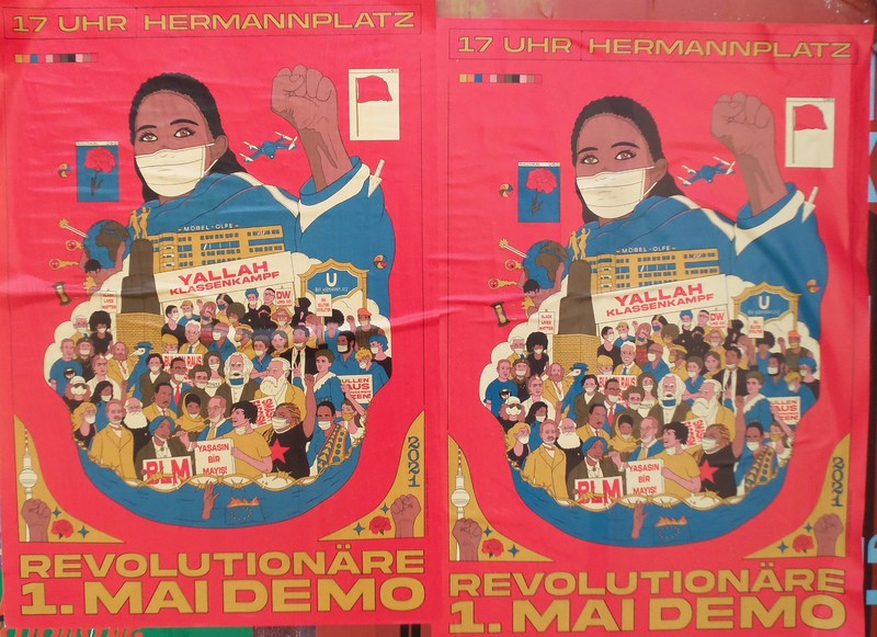 Plakat Revolutionäre 1.Mai Demo Hermannplatz
