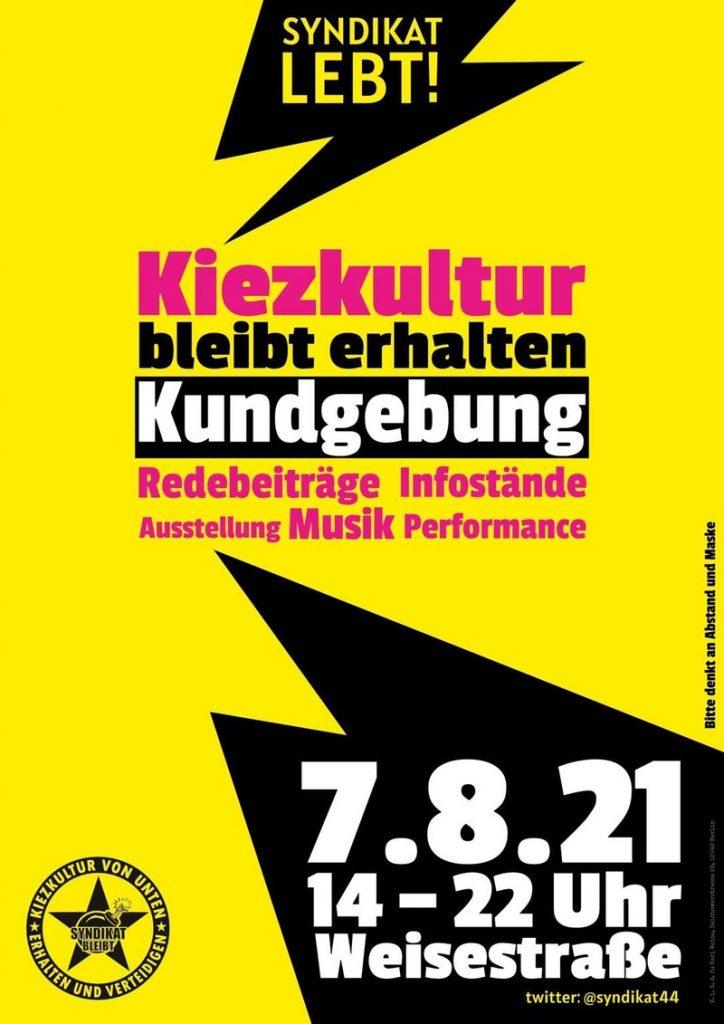 Kundgebung am Samstag, den 7. August 2021 Weisestraße